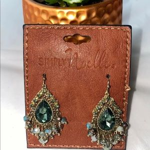 Simply Noelle Green Teardrop Dangle Earrings